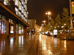 Khreschatik sidewalk at night.