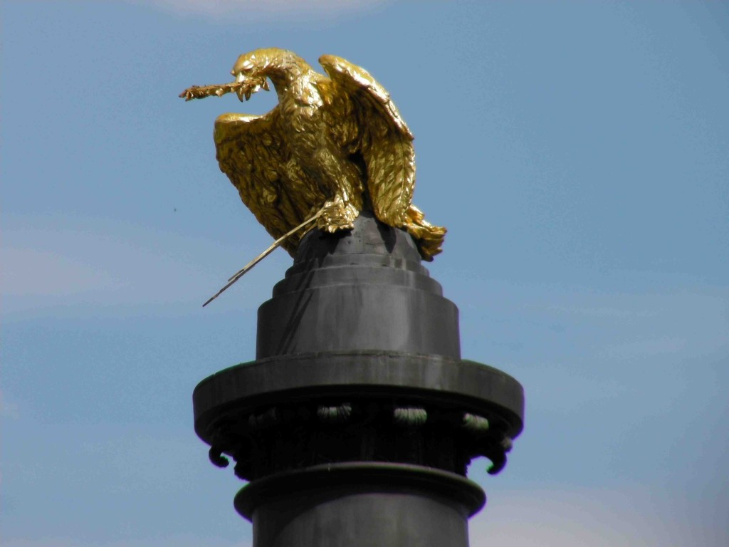 Golden eagle sitting atop the Column of Glory in Poltava, Ukraine.