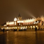 Krakow Rynek at night.