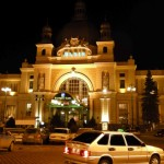 L'viv train station at night.