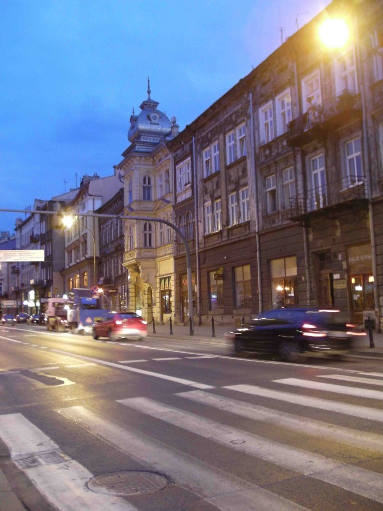 Przemysl street at night.