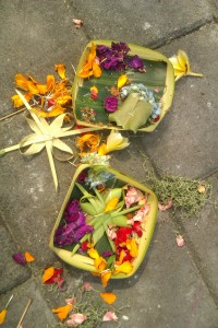 "Hindu offerings, called ""canang sari""."