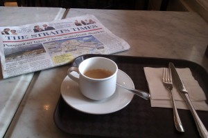 Coffee and Straits Times