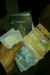 Cash, passport, and a visa